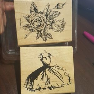 Rose and dress runber stamps